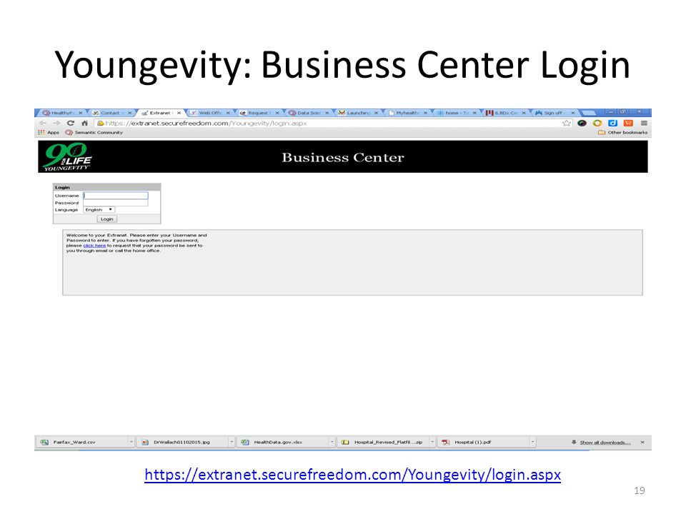 Youngevity: Business Center Login 19 https://extranet.securefreedom.com/Youngevity/login.aspx