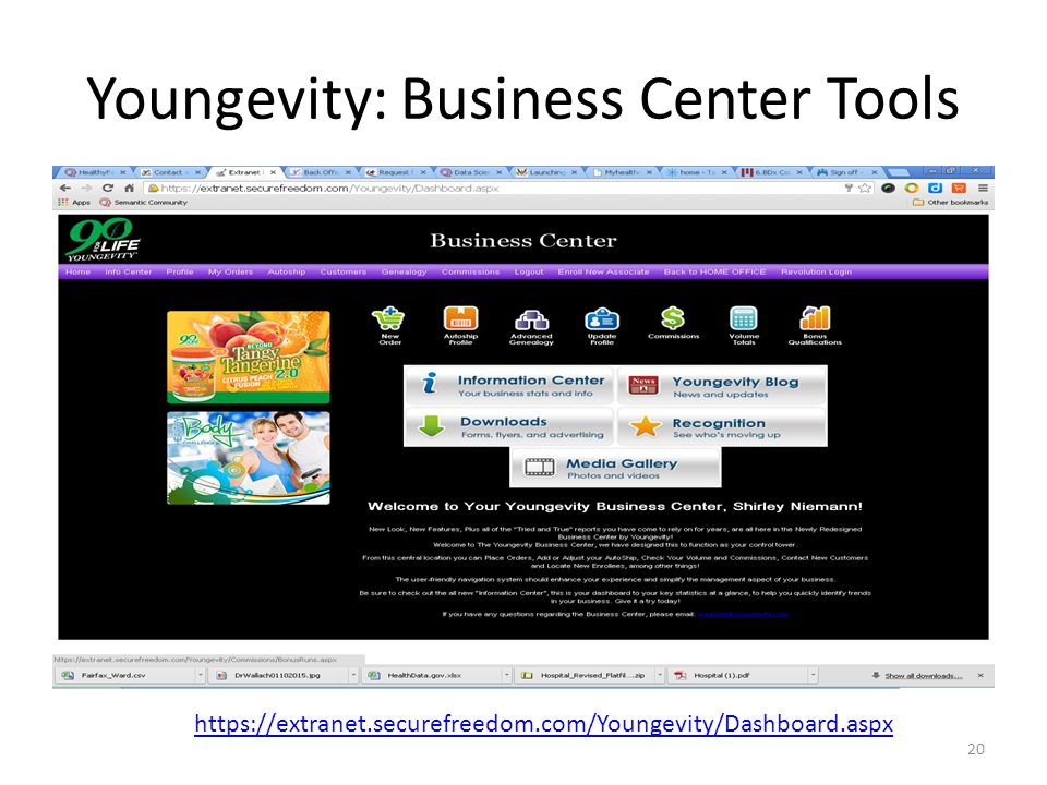 Youngevity: Business Center Tools 20 https://extranet.securefreedom.com/Youngevity/Dashboard.aspx