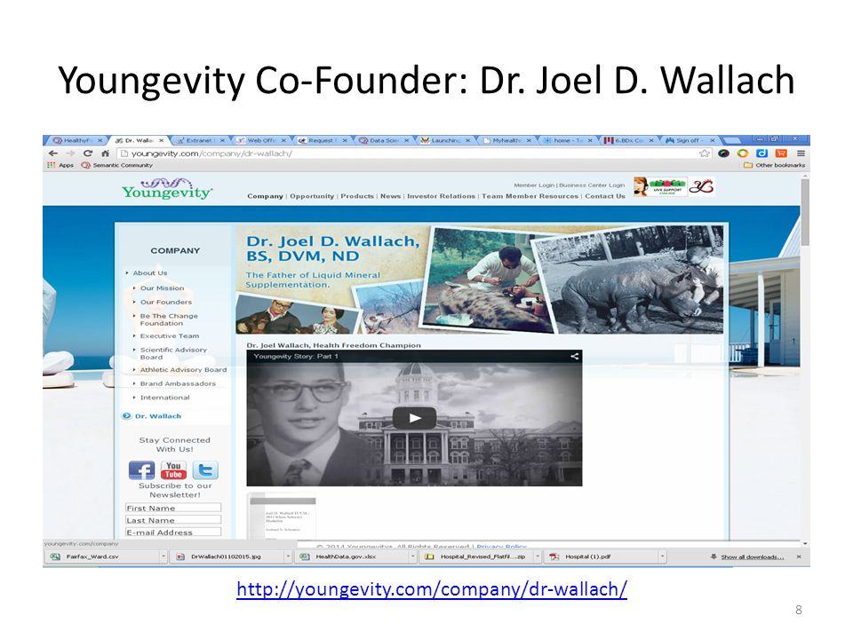 Youngevity Co-Founder: Dr. Joel D. Wallach 8 http://youngevity.com/company/dr-wallach/