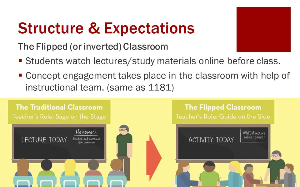 Structure & Expectations The Flipped (or inverted) Classroom  Students watch lectures/study materials online before class.  Concept engagement takes