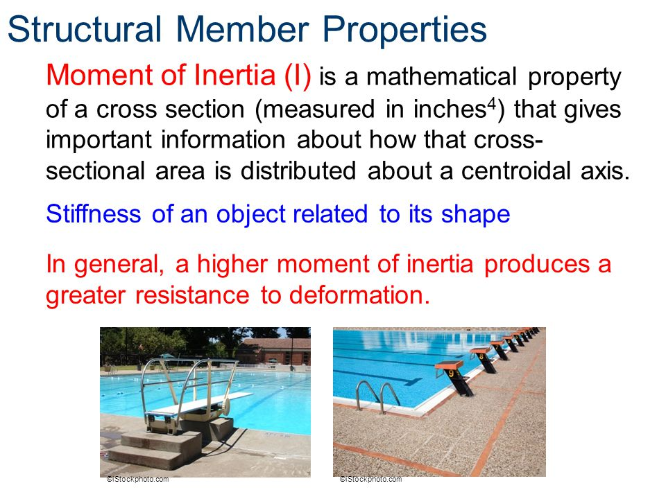 Structural Member Properties Moment of Inertia (I) is a mathematical property of a cross section (measured in inches 4 ) that gives important informat