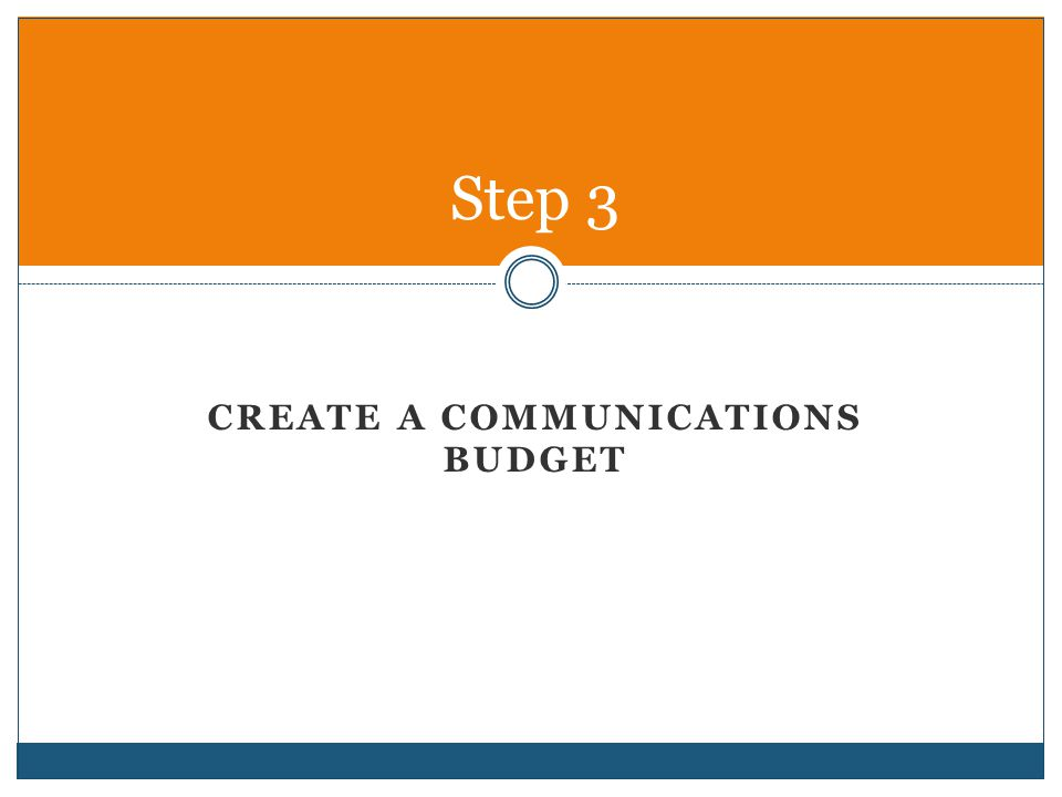 CREATE A COMMUNICATIONS BUDGET Step 3