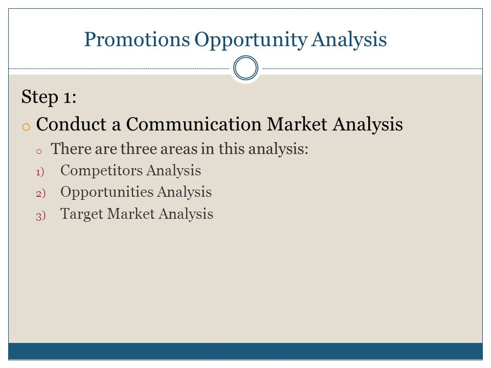 Promotions Opportunity Analysis Competitors Analysis:  Direct competitors  Indirect competitors  Market leaders  Identify communication strategies and tactics of each competitor through primary and secondary research.