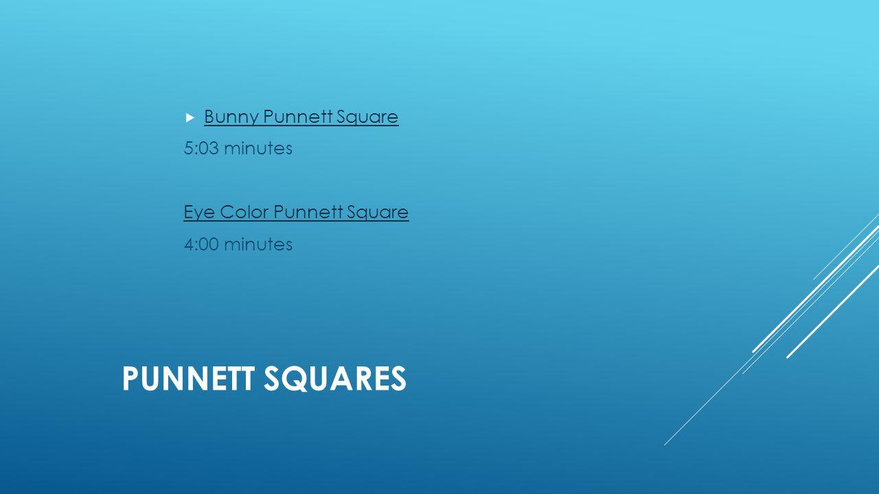 PUNNETT SQUARES  Bunny Punnett Square Bunny Punnett Square 5:03 minutes Eye Color Punnett Square 4:00 minutes