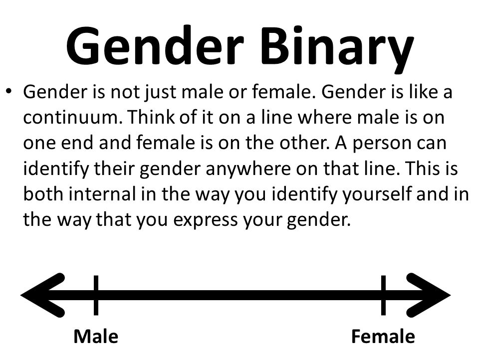 Gender Binary Gender is not just male or female. Gender is like a continuum. Think of it on a line where male is on one end and female is on the other