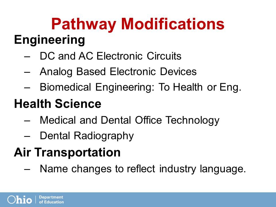 Pathway Modifications Engineering –DC and AC Electronic Circuits –Analog Based Electronic Devices –Biomedical Engineering: To Health or Eng.