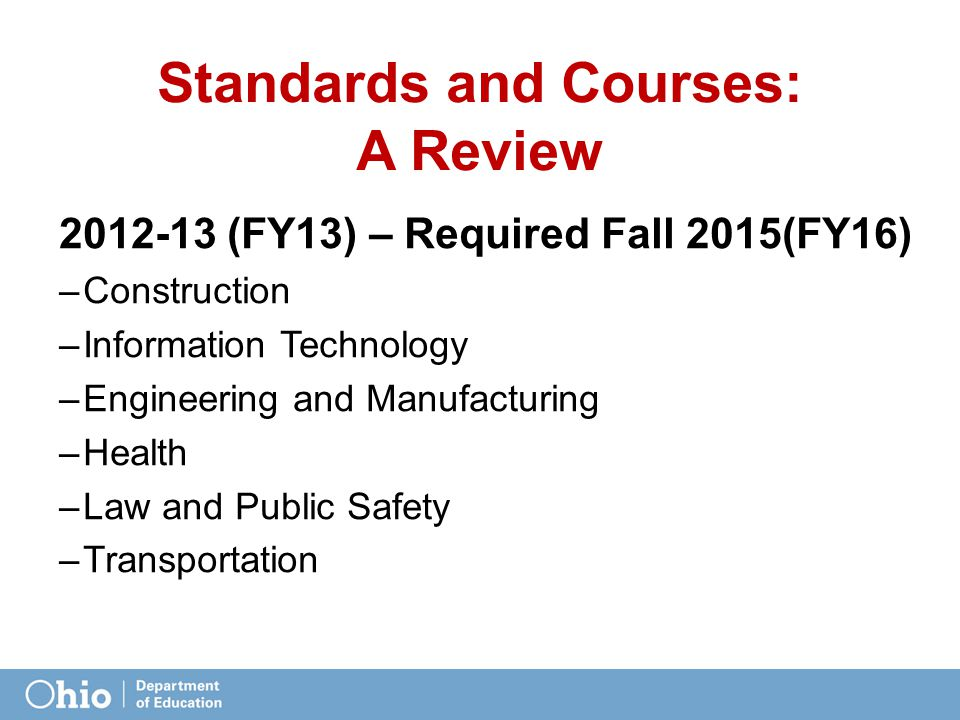 Standards and Courses: A Review 2012-13 (FY13) – Required Fall 2015(FY16) –Construction –Information Technology –Engineering and Manufacturing –Health –Law and Public Safety –Transportation