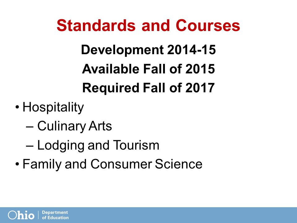 Standards and Courses Development 2014-15 Available Fall of 2015 Required Fall of 2017 Hospitality – Culinary Arts – Lodging and Tourism Family and Consumer Science