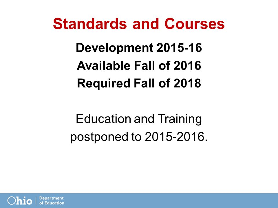Standards and Courses Development 2015-16 Available Fall of 2016 Required Fall of 2018 Education and Training postponed to 2015-2016.