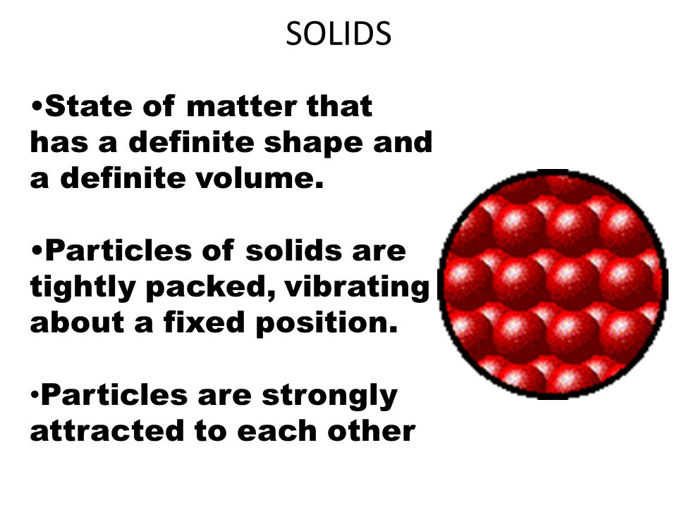 SOLIDS State of matter that has a definite shape and a definite volume. Particles of solids are tightly packed, vibrating about a fixed position. Part