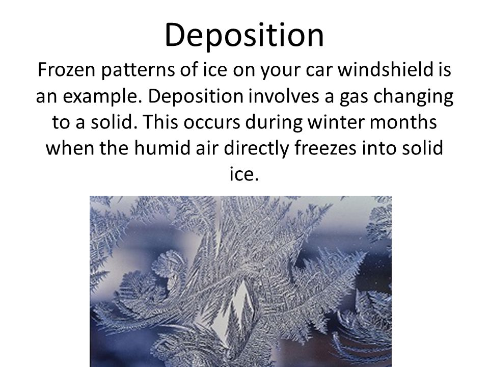 Deposition Frozen patterns of ice on your car windshield is an example.