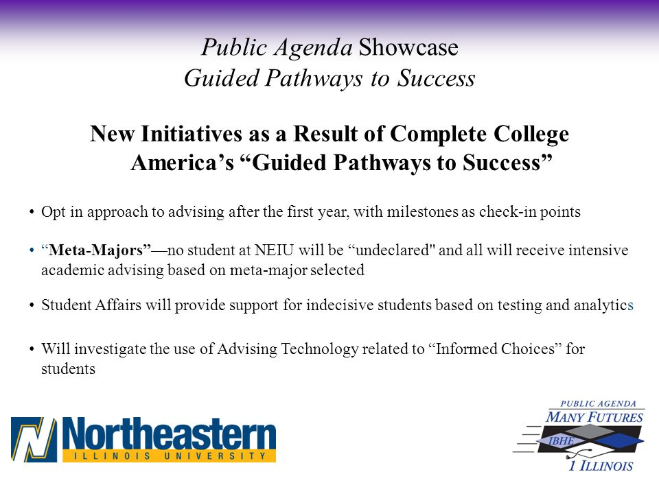 New Initiatives as a Result of Complete College America's Guided Pathways to Success Opt in approach to advising after the first year, with milestones as check-in points Meta-Majors —no student at NEIU will be undeclared and all will receive intensive academic advising based on meta-major selected Student Affairs will provide support for indecisive students based on testing and analytics Will investigate the use of Advising Technology related to Informed Choices for students