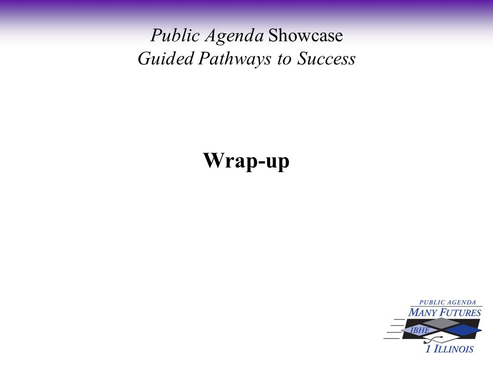 Wrap-up Public Agenda Showcase Guided Pathways to Success