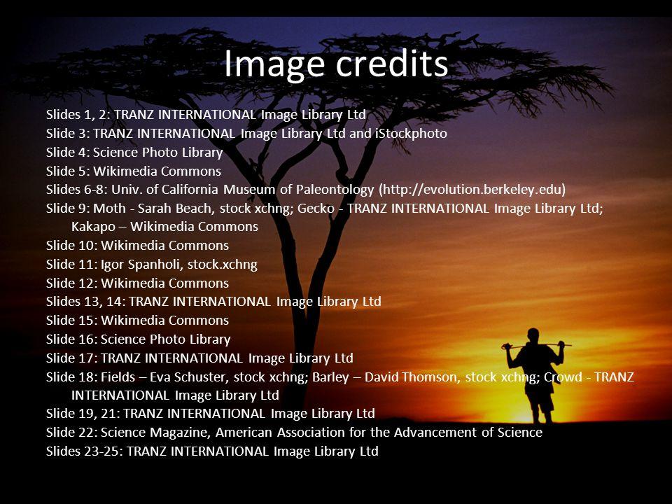 Image credits Slides 1, 2: TRANZ INTERNATIONAL Image Library Ltd Slide 3: TRANZ INTERNATIONAL Image Library Ltd and iStockphoto Slide 4: Science Photo Library Slide 5: Wikimedia Commons Slides 6-8: Univ.