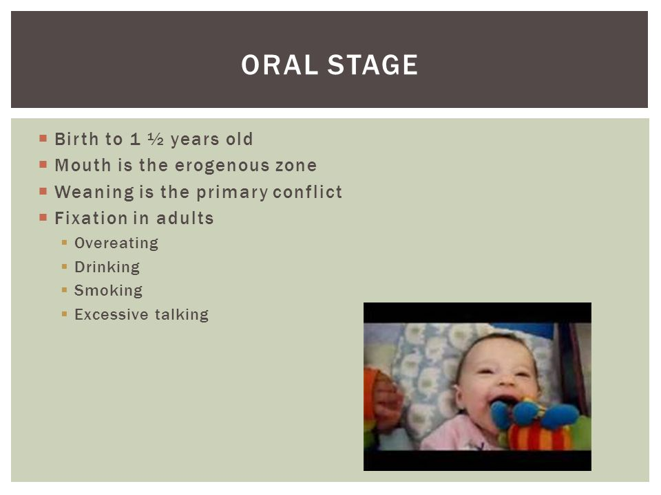  Birth to 1 ½ years old  Mouth is the erogenous zone  Weaning is the primary conflict  Fixation in adults  Overeating  Drinking  Smoking  Exce
