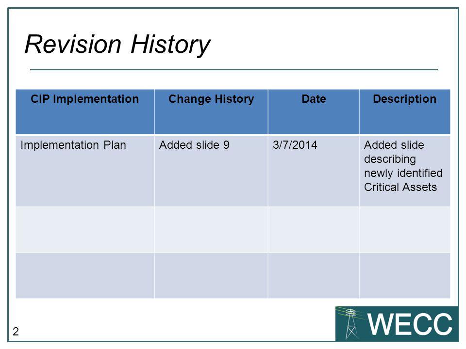 2 Revision History CIP ImplementationChange HistoryDateDescription Implementation PlanAdded slide 93/7/2014Added slide describing newly identified Critical Assets
