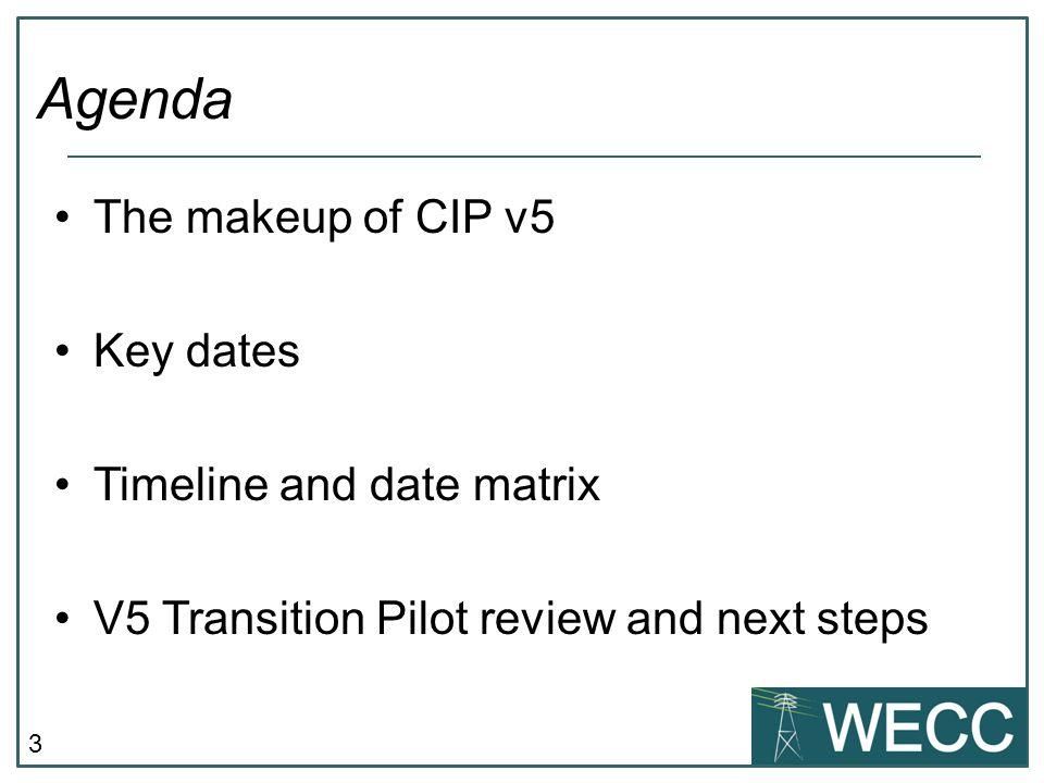 3 The makeup of CIP v5 Key dates Timeline and date matrix V5 Transition Pilot review and next steps Agenda