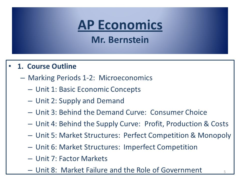 1. Course Outline – Marking Periods 1-2: Microeconomics – Unit 1: Basic Economic Concepts – Unit 2: Supply and Demand – Unit 3: Behind the Demand Curv