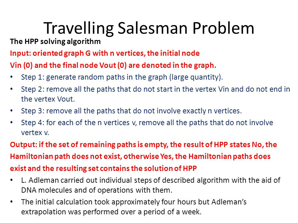 Travelling Salesman Problem The HPP solving algorithm Input: oriented graph G with n vertices, the initial node Vin (0) and the final node Vout (0) ar