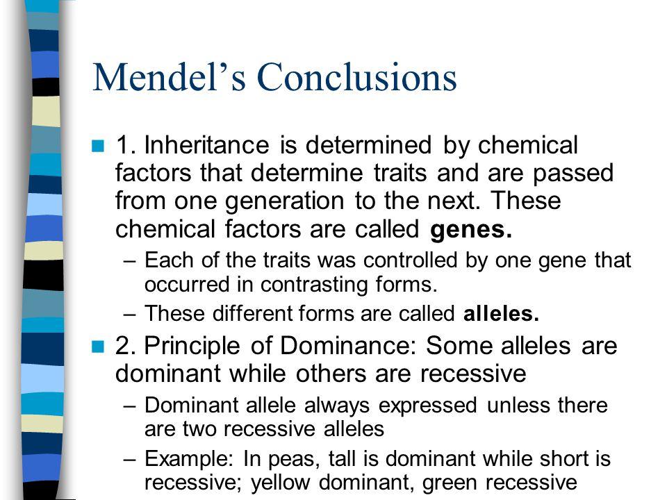 Mendel's Conclusions 1.