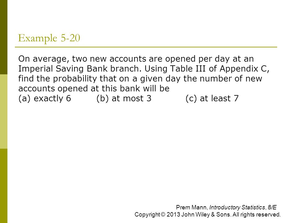 Example 5-20  On average, two new accounts are opened per day at an Imperial Saving Bank branch. Using Table III of Appendix C, find the probability