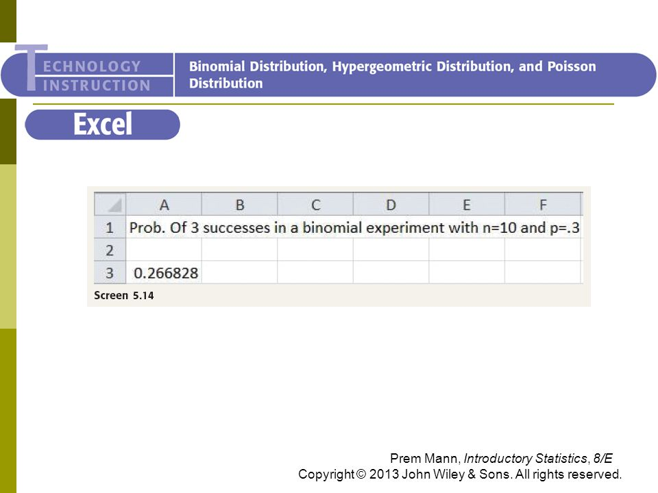 Excel Prem Mann, Introductory Statistics, 8/E Copyright © 2013 John Wiley & Sons. All rights reserved.