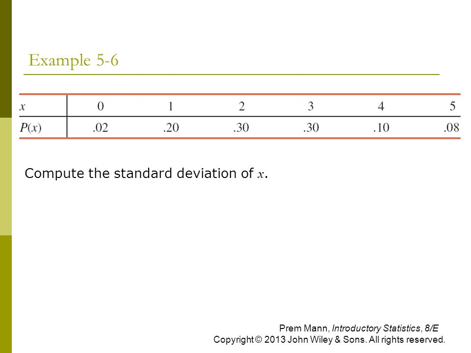 Example 5-6 Compute the standard deviation of x. Prem Mann, Introductory Statistics, 8/E Copyright © 2013 John Wiley & Sons. All rights reserved.