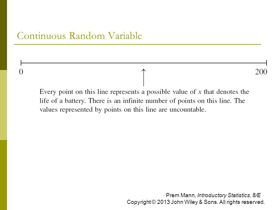 Continuous Random Variable Prem Mann, Introductory Statistics, 8/E Copyright © 2013 John Wiley & Sons. All rights reserved.