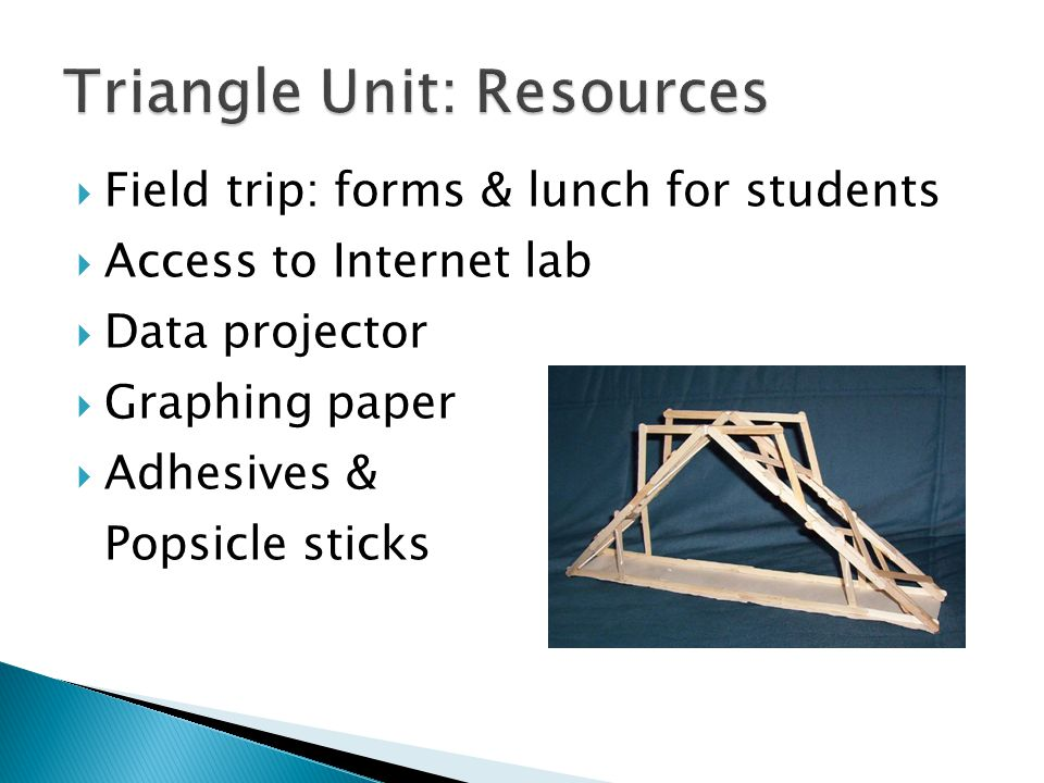  Field trip: forms & lunch for students  Access to Internet lab  Data projector  Graphing paper  Adhesives & Popsicle sticks
