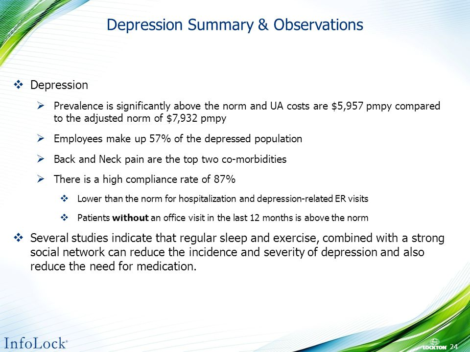 Depression Summary & Observations 24  Depression  Prevalence is significantly above the norm and UA costs are $5,957 pmpy compared to the adjusted norm of $7,932 pmpy  Employees make up 57% of the depressed population  Back and Neck pain are the top two co-morbidities  There is a high compliance rate of 87%  Lower than the norm for hospitalization and depression-related ER visits  Patients without an office visit in the last 12 months is above the norm  Several studies indicate that regular sleep and exercise, combined with a strong social network can reduce the incidence and severity of depression and also reduce the need for medication.