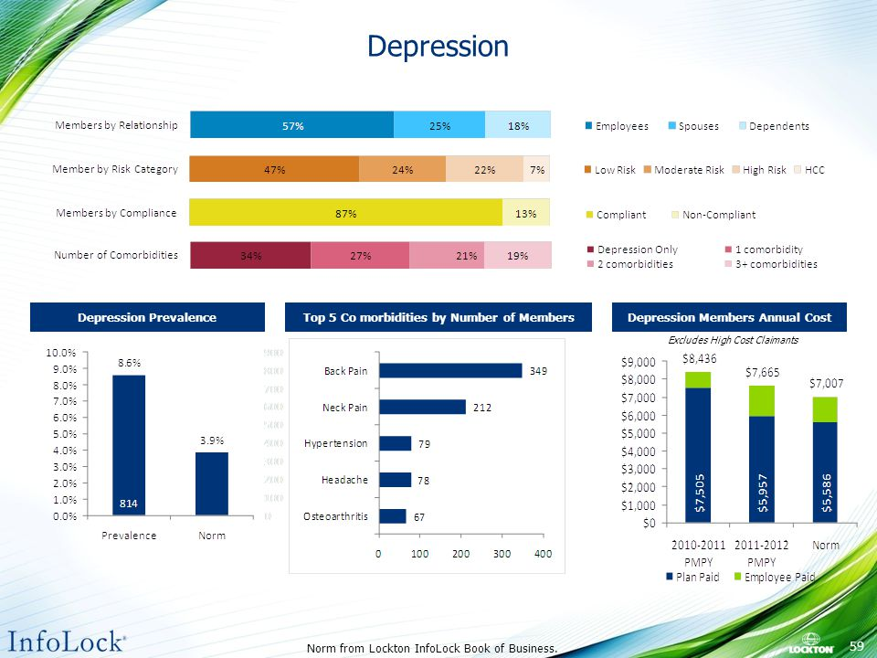 Depression Excludes High Cost Claimants Norm from Lockton InfoLock Book of Business.