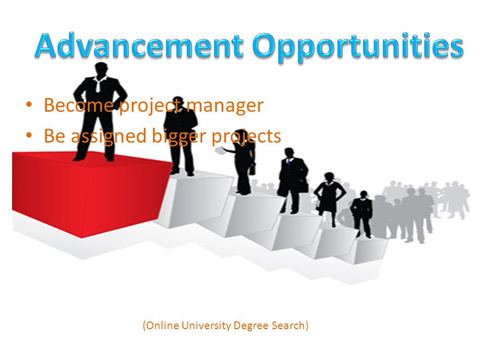 Become project manager Be assigned bigger projects (Online University Degree Search)