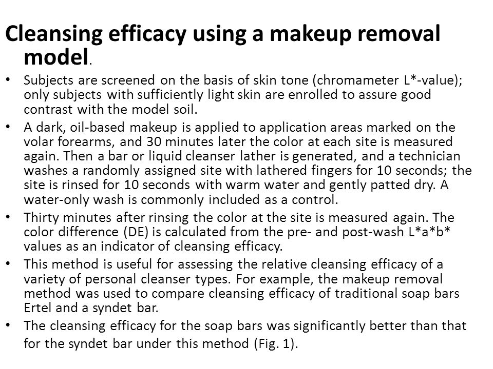 Cleansing efficacy using a makeup removal model.