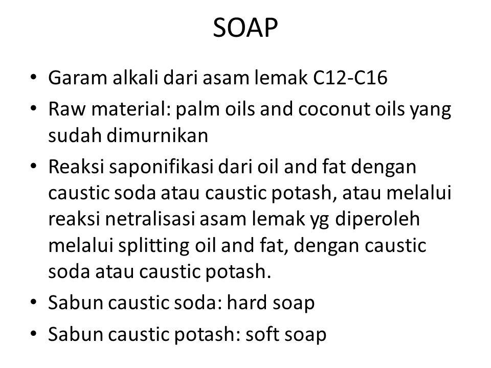 SOAP Garam alkali dari asam lemak C12-C16 Raw material: palm oils and coconut oils yang sudah dimurnikan Reaksi saponifikasi dari oil and fat dengan c