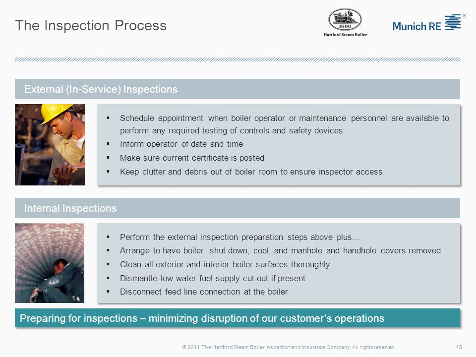 The Inspection Process 15© 2011 The Hartford Steam Boiler Inspection and Insurance Company.