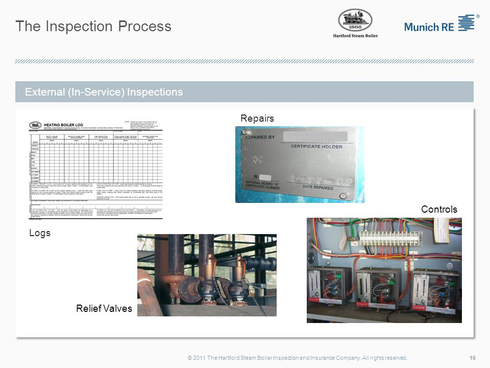 The Inspection Process 16© 2011 The Hartford Steam Boiler Inspection and Insurance Company. All rights reserved. External (In-Service) Inspections Log