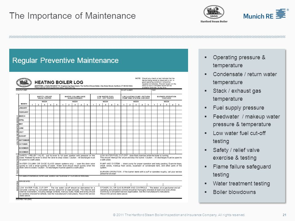 The Importance of Maintenance 21© 2011 The Hartford Steam Boiler Inspection and Insurance Company. All rights reserved. Regular Preventive Maintenance