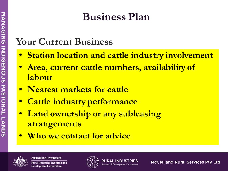 STRENGTHS Business Plan Your Current Business Station location and cattle industry involvement Area, current cattle numbers, availability of labour Nearest markets for cattle Cattle industry performance Land ownership or any subleasing arrangements Who we contact for advice