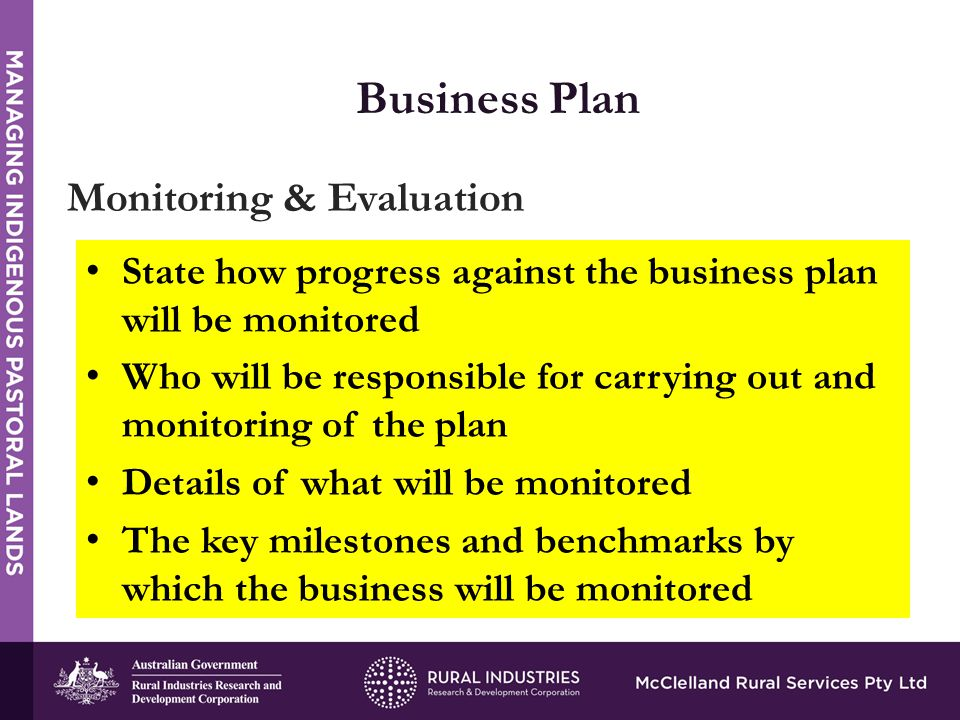 STRENGTHS Business Plan Monitoring & Evaluation State how progress against the business plan will be monitored Who will be responsible for carrying out and monitoring of the plan Details of what will be monitored The key milestones and benchmarks by which the business will be monitored