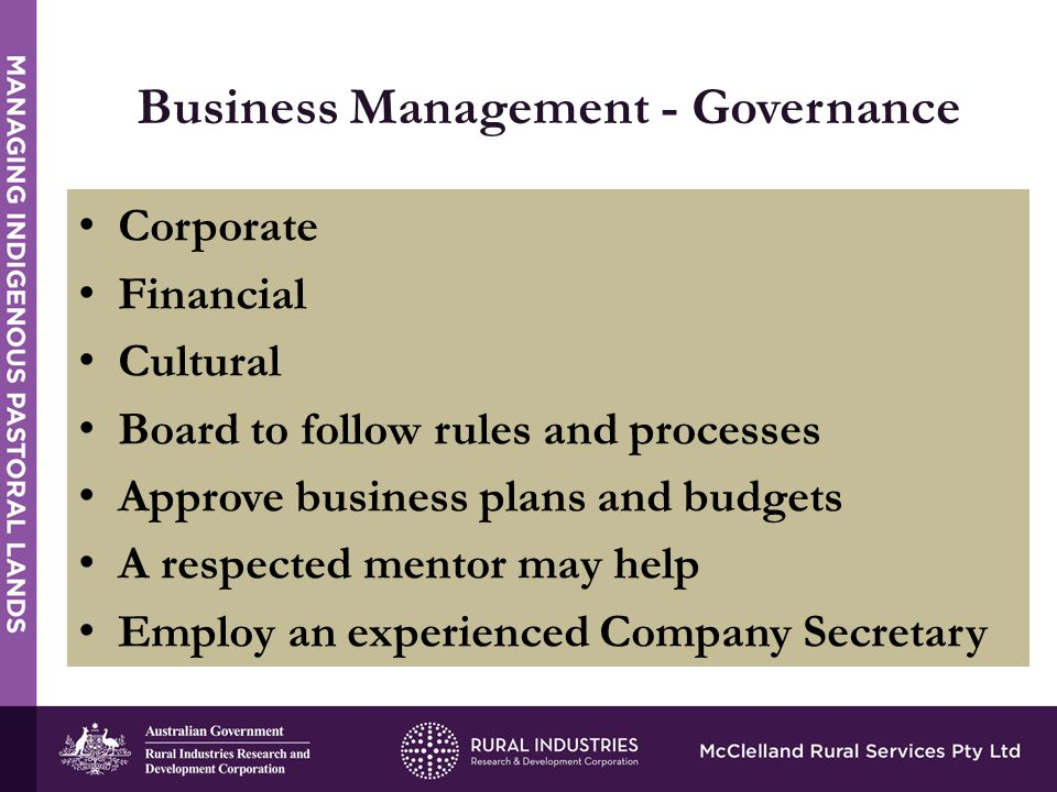Business Management - Governance Corporate Financial Cultural Board to follow rules and processes Approve business plans and budgets A respected mentor may help Employ an experienced Company Secretary