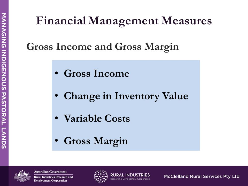 STRENGTHS Financial Management Measures Gross Income and Gross Margin Gross Income Change in Inventory Value Variable Costs Gross Margin