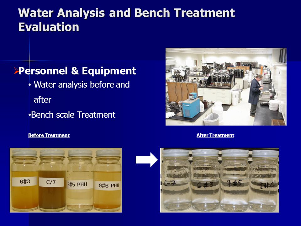 Water Analysis and Bench Treatment Evaluation  Personnel & Equipment Water analysis before and after Bench scale Treatment Before TreatmentAfter Trea