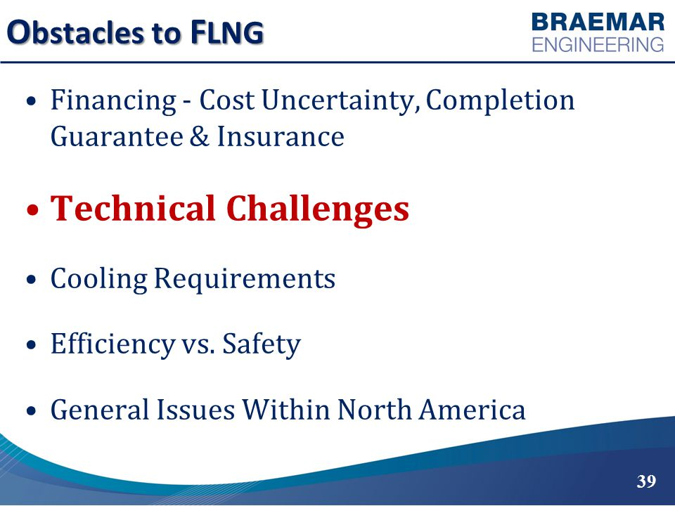 O bstacles to F LNG Financing - Cost Uncertainty, Completion Guarantee & Insurance Technical Challenges Cooling Requirements Efficiency vs.