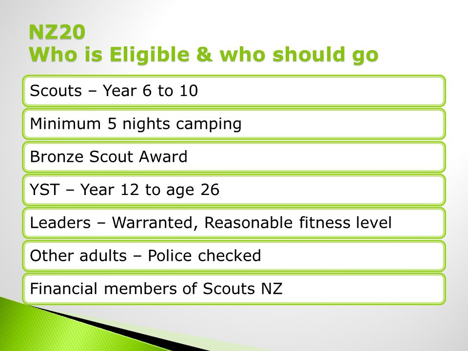 Scouts – Year 6 to 10Minimum 5 nights campingBronze Scout AwardYST – Year 12 to age 26Leaders – Warranted, Reasonable fitness levelOther adults – Police checkedFinancial members of Scouts NZ NZ20 Who is Eligible & who should go