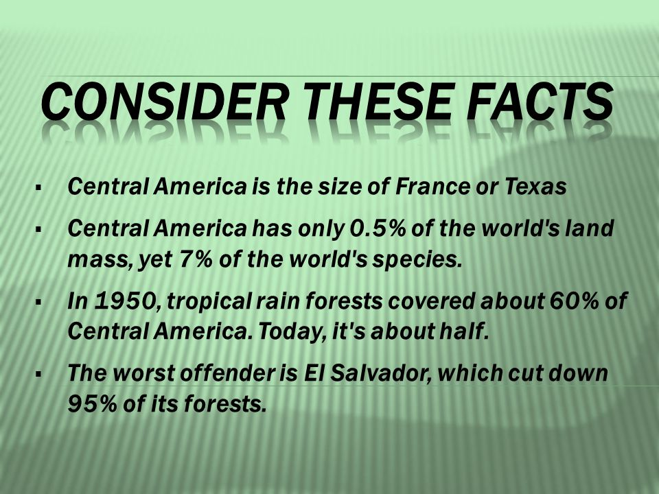  Central America is the size of France or Texas  Central America has only 0.5% of the world s land mass, yet 7% of the world s species.