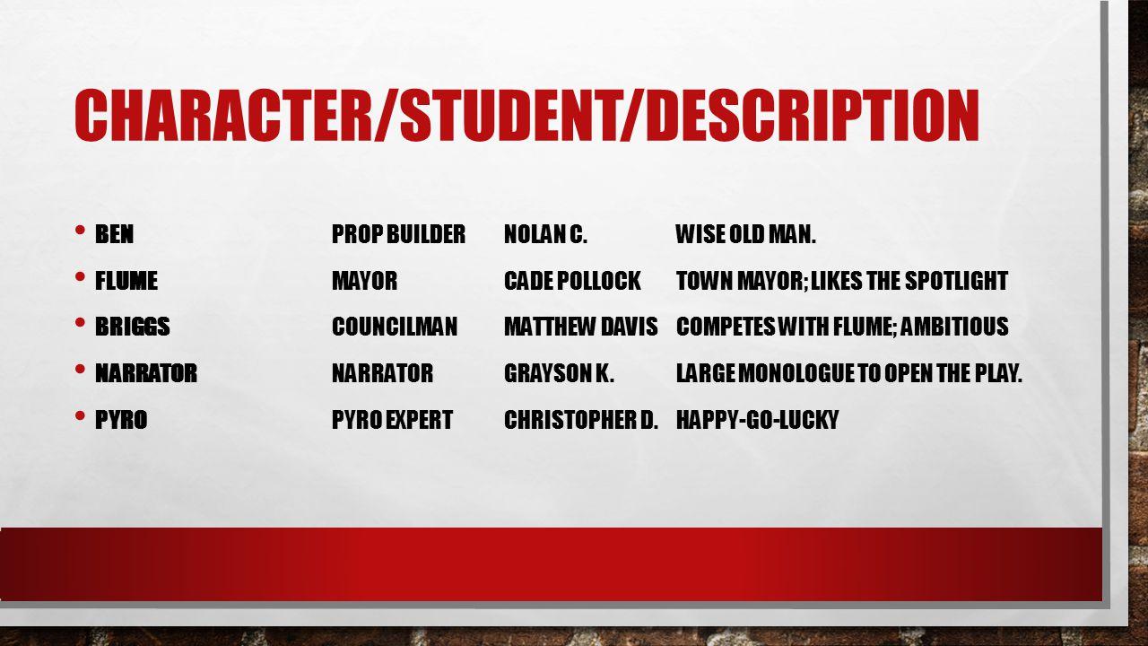 CHARACTER/STUDENT/DESCRIPTION BENPROP BUILDERNOLAN C.WISE OLD MAN.