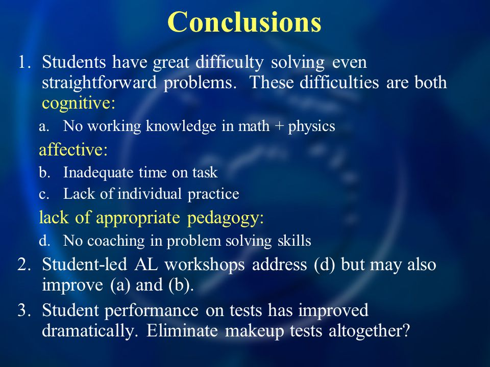 Conclusions 1.Students have great difficulty solving even straightforward problems.