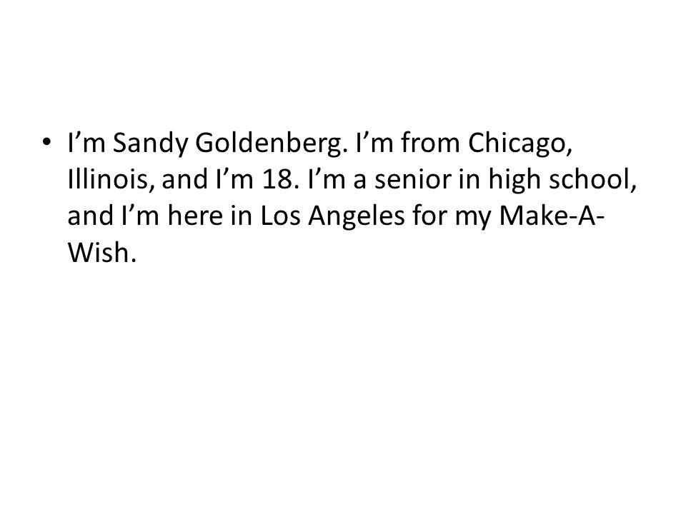 I'm Sandy Goldenberg. I'm from Chicago, Illinois, and I'm 18.