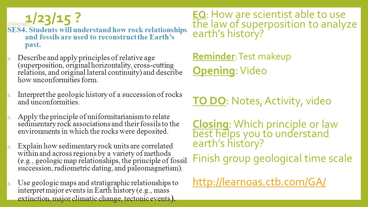 1/23/15 .EQ: How are scientist able to use the law of superposition to analyze earth's history.
