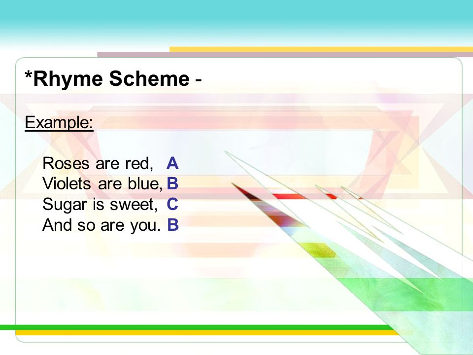 *Rhyme Scheme - 1)Looking at the last word of the first line of the poem. Assign it the letter